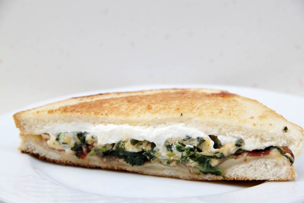 Scrambled egg and spinach sandwich