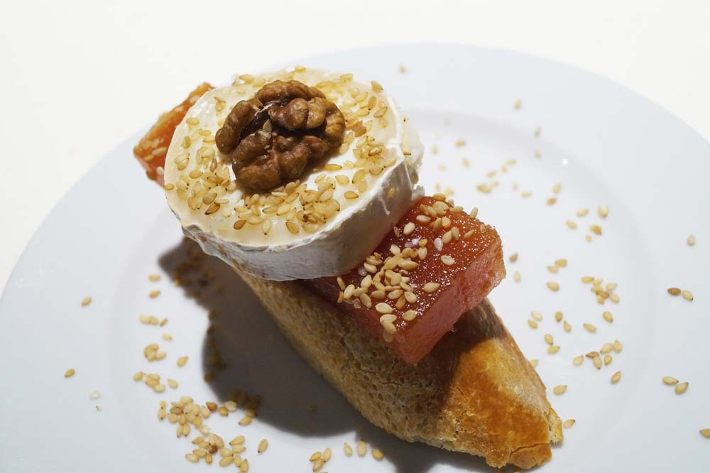 Quince paste, cheese and walnut