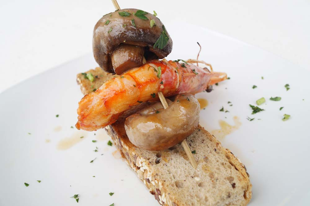 Mushroom and king prawn