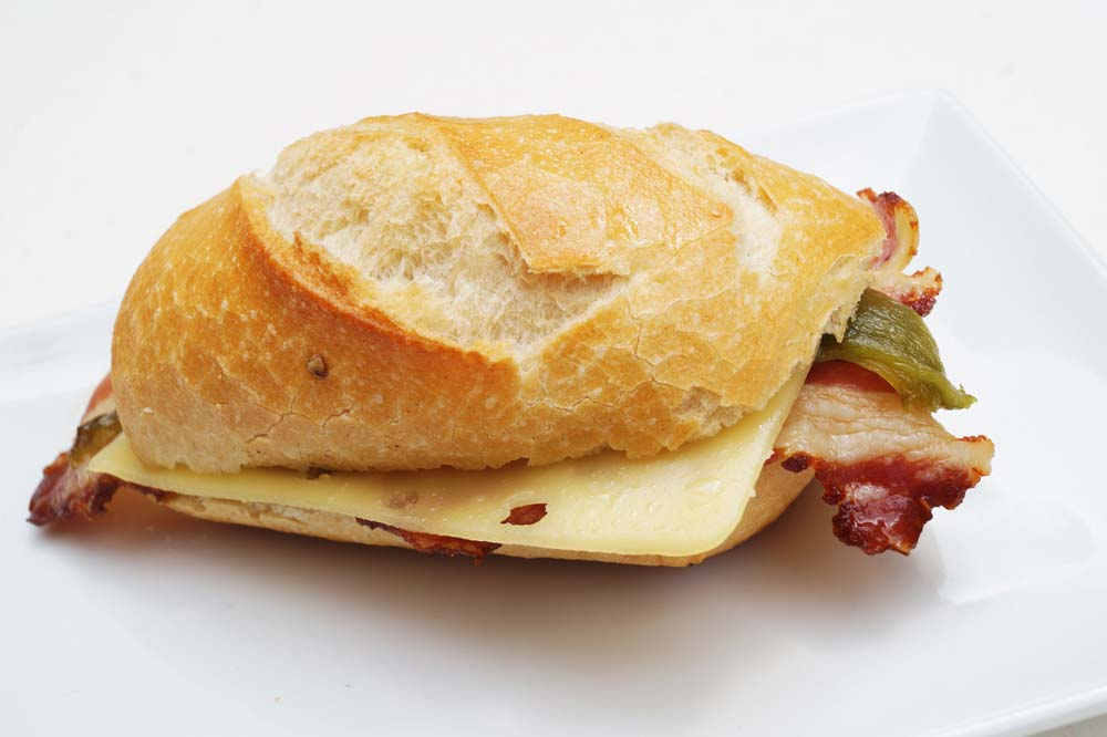 Bacon, pepper and cheese mini roll